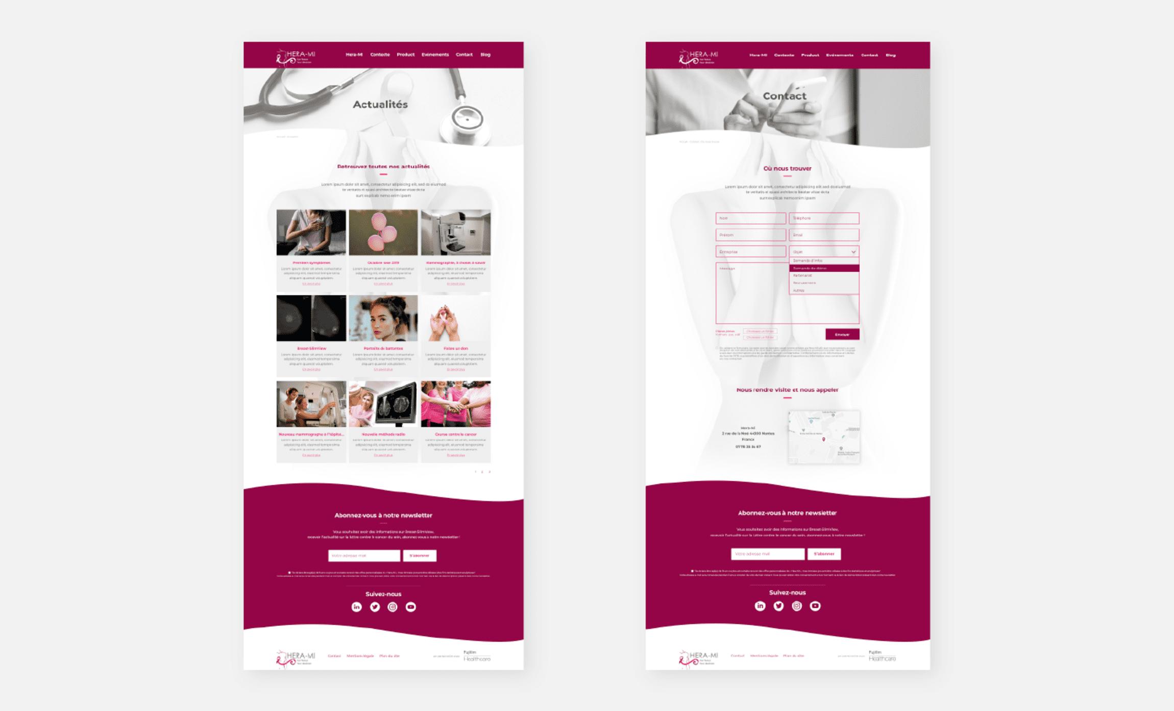 Site internet maquette Hera mi dépistage cancer du sein mammographie Digisanté