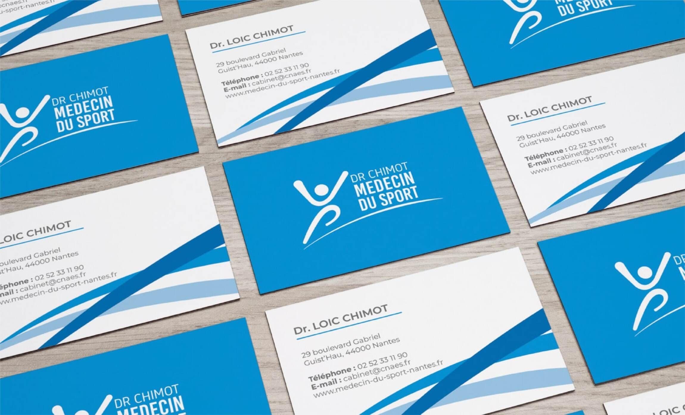 Outils de communication cartes de visite CNAES Dr Chimot identité visuelle Digisanté