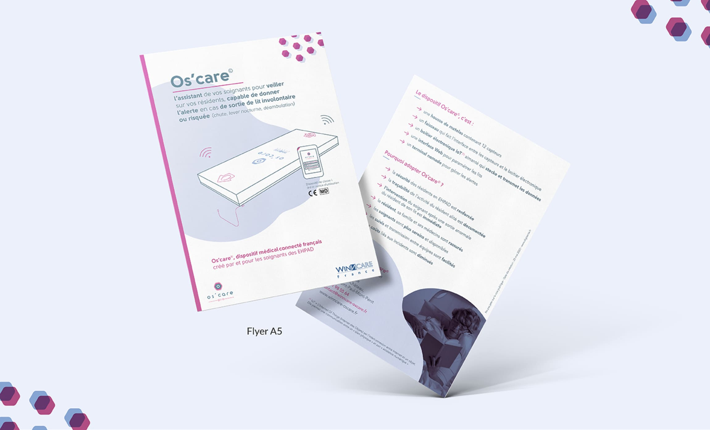 Flyer présentation dispositif médical os'care français Digisanté