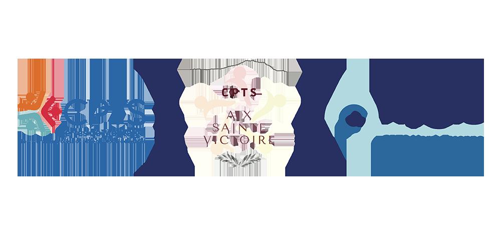 Logo CPTS Terres de Montaigu ; Logo CPTS Aix Sainte Victoire ; Logo CPTS Hygie