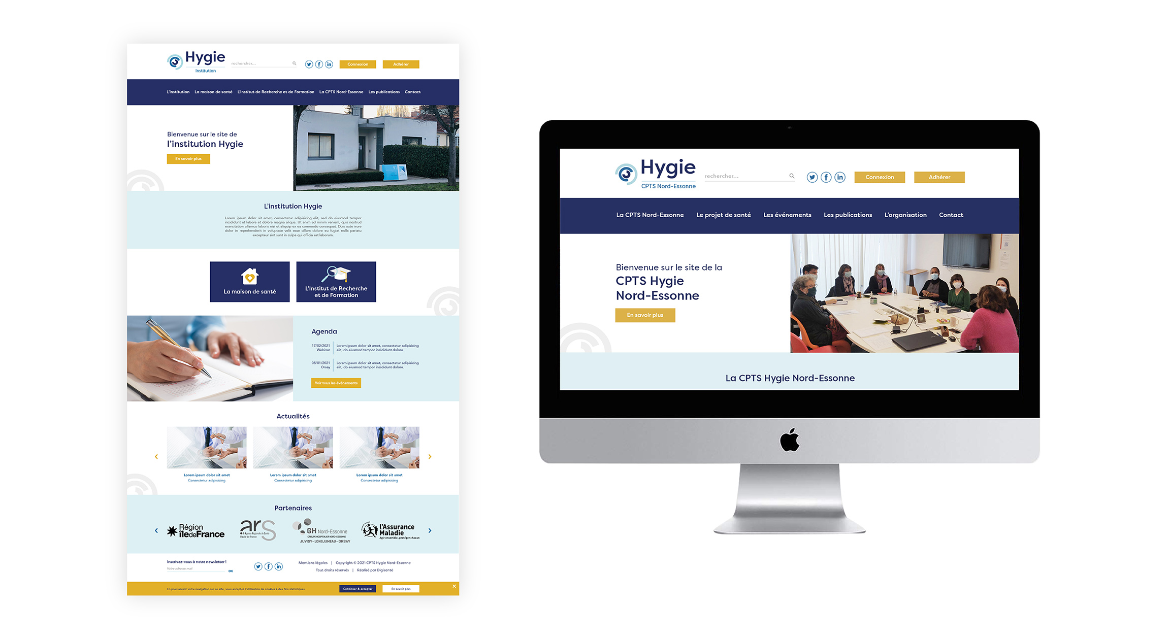 Maquettes site web CPTS et Institution Hygie Digisanté