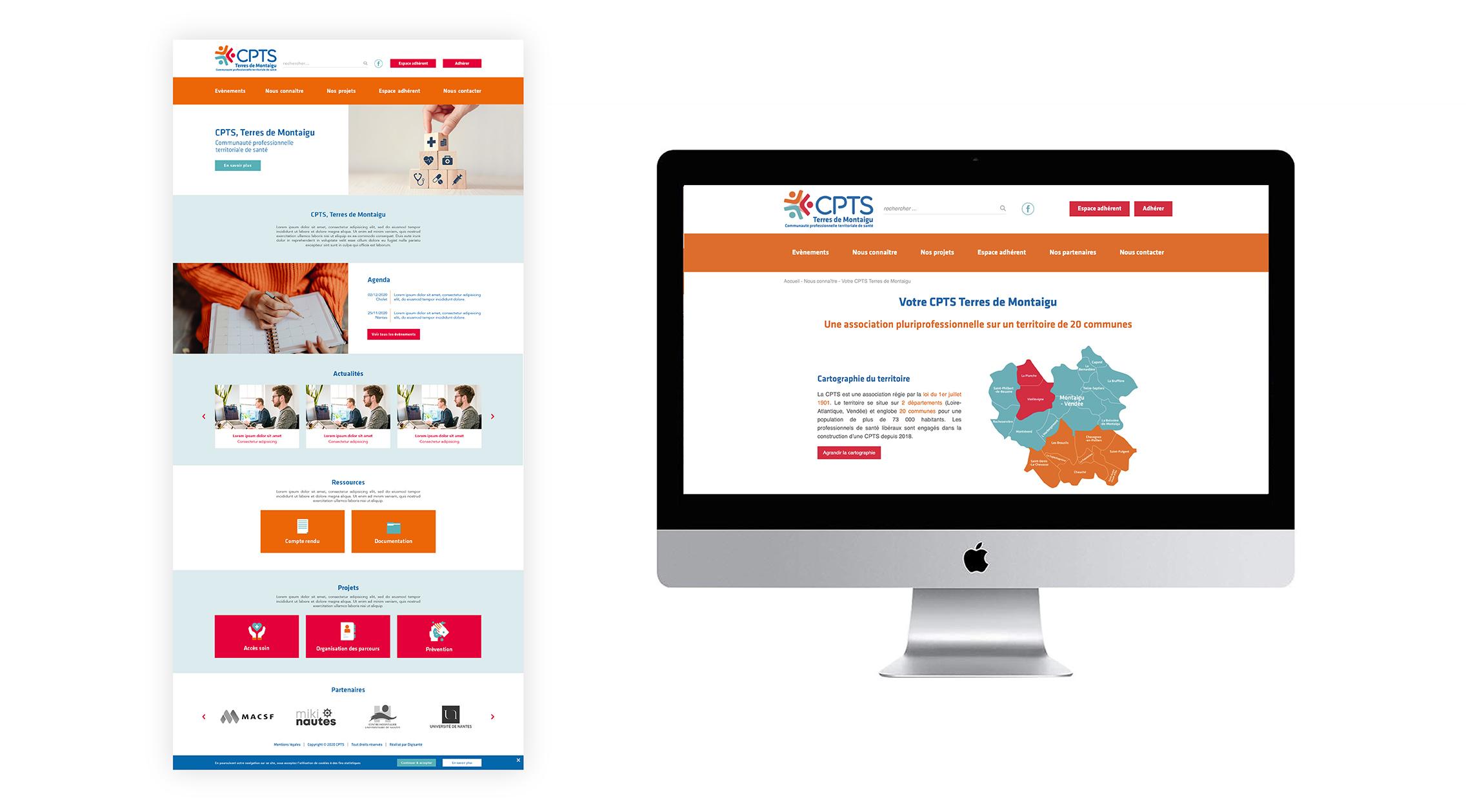 Maquettes site web CPTS Terres de Montaigu Digisanté
